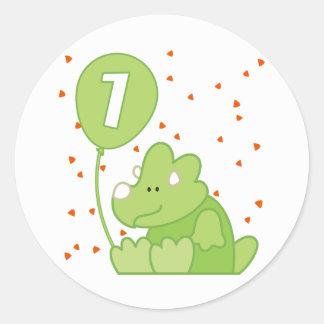 Dino Baby 1st Birthday Classic Round Sticker