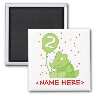 Dino Baby 2nd Birthday Square Magnet