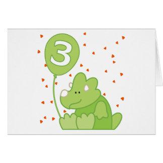 Dino Baby 3rd Birthday Invitation Greeting Cards