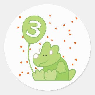 Dino Baby 3rd Birthday Stickers