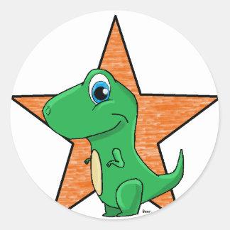dino baby star classic round sticker