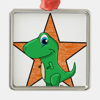 dino baby star Silver-Colored square decoration