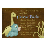 dino birthday party fun cute sweet brown green personalized invitations