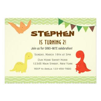 Dino Birthday Party Invitation (Green) Announcement