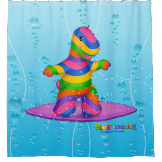 Dino-Buddies™ Shower Curtain – Bo Surfing (Blue)