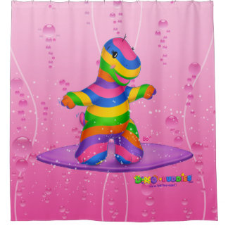Dino-Buddies™ Shower Curtain – Bo Surfing (Pink)