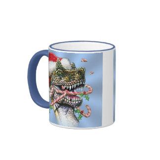 Dino Christmas Ringer Coffee Mug