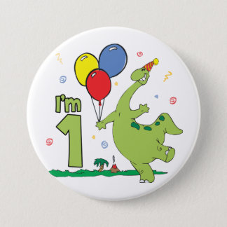 Dino First Birthday Button