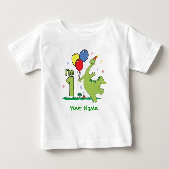 Dino First Birthday Personalised Baby T-Shirt