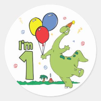 Dino First Birthday Round Sticker