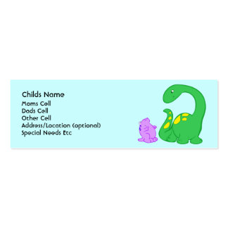Dino Friends Child I.D. Pack Of Skinny Business Cards
