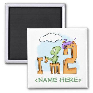 Dino Fun 2nd Birthday Square Magnet