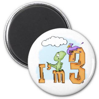 Dino Fun 3rd Birthday 6 Cm Round Magnet