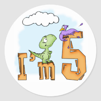 Dino Fun 5th Birthday Classic Round Sticker