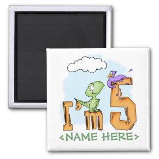 Dino Fun 5th Birthday Magnet
