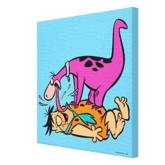 Dino Licking Fred Flintstone Canvas Print