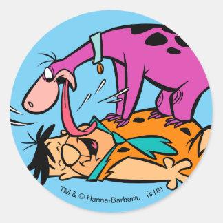 Dino Licking Fred Flintstone Round Sticker