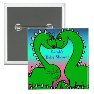 Dino Love Baby Shower Buttons