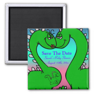 Dino Love Baby Shower Square Magnet