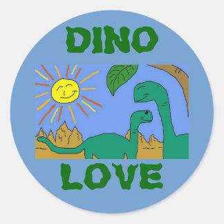 DINO LOVE - I LOVE DINOSAURS Round Stickers