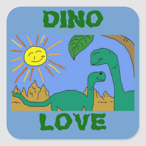 DINO LOVE - I LOVE DINOSAURS Square Stickers