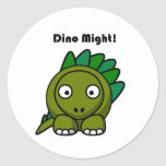 Dino Might Green Stegosaurus Cartoon Round Stickers
