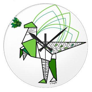 Dino origami large clock