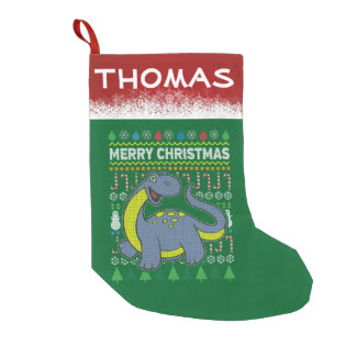 Dino Purple Ugly Christmas Sweater Wildlife Series Small Christmas Stocking