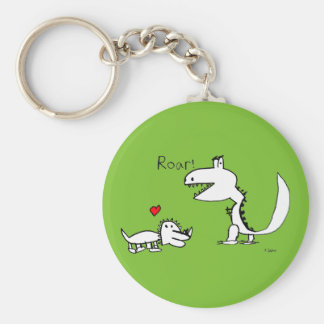 Dino Roaring, Red Heart, Your Special Basic Round Button Key Ring