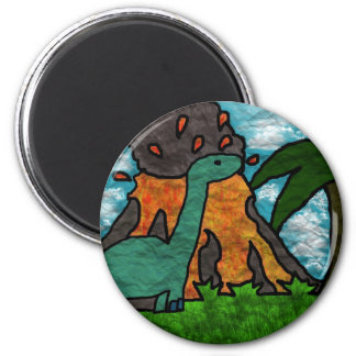 Dino Scare 6 Cm Round Magnet