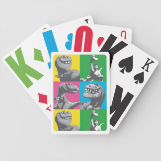 Dino Silhouette Four Square Bicycle Playing Cards