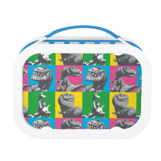 Dino Silhouette Four Square Lunch Boxes