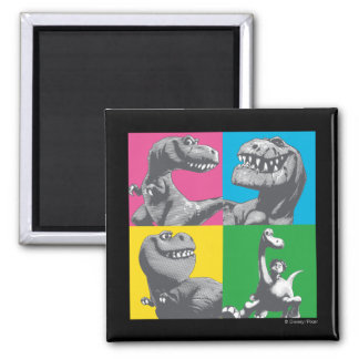 Dino Silhouette Four Square Magnet