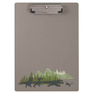 Dino Silhouettes Running Clipboard