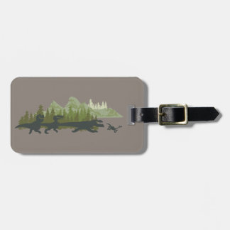 Dino Silhouettes Running Luggage Tag