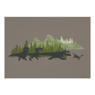 Dino Silhouettes Running Poster
