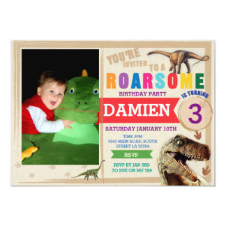 Dinodaur Birthday Invitation Dino Trex Invite