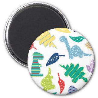 Dinomite! Cute Colorful Dinosaur Pattern 6 Cm Round Magnet
