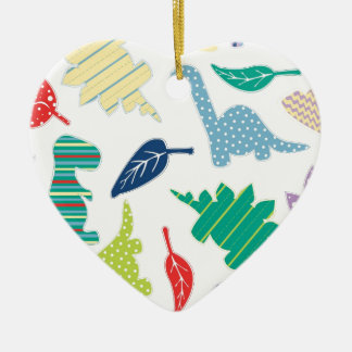 Dinomite! Cute Colorful Dinosaur Pattern Ceramic Heart Decoration