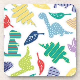 Dinomite! Cute Colorful Dinosaur Pattern Coaster