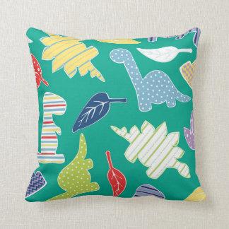 Dinomite! Cute Colorful Dinosaur Pattern Green Cushion