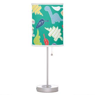 Dinomite! Cute Colorful Dinosaur Pattern Green Desk Lamp