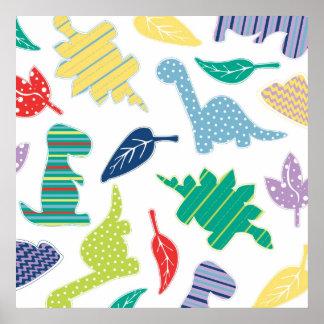Dinomite! Cute Colorful Dinosaur Pattern Poster