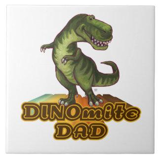 Dinomite Dad Large Square Tile