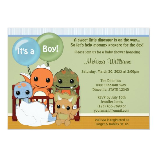 Dinos DINOSAUR Baby Shower invitation boy DAPC