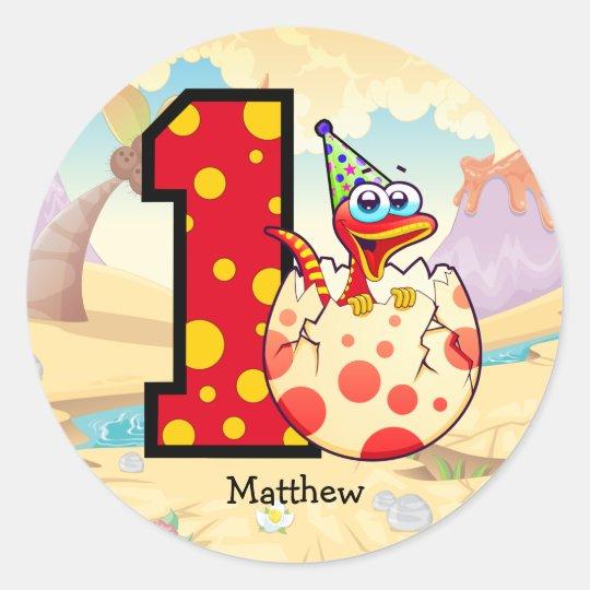Dinosaur 1st Birthday Party Custom Classic Round Sticker