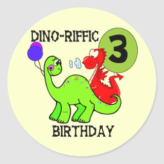 Dinosaur 3rd Birthday Tshirts and Gifts Round Sticker