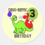 Dinosaur 3rd Birthday Tshirts and Gifts Classic Round Sticker