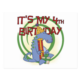 Dinosaur 4th Birthday T-shirts and Gifts Postcard