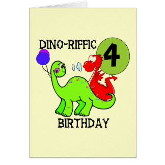 Dinosaur 4th Birthday Tshirts and Gifts Card